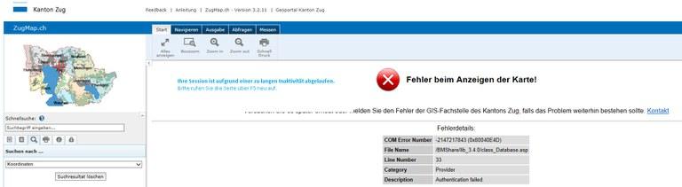 Fehlermeldung bei abgelaufener Session-ID im ZugMap.ch