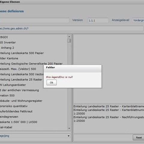 ZugMap.secure WMS einbinden Fehlermeldung