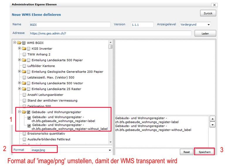 ZugMap.secure: WMS auswählen und speichern