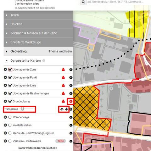 BGDI-Viewer: Darstellungsreihenfolge und Transparenz pro Ebene anpassen