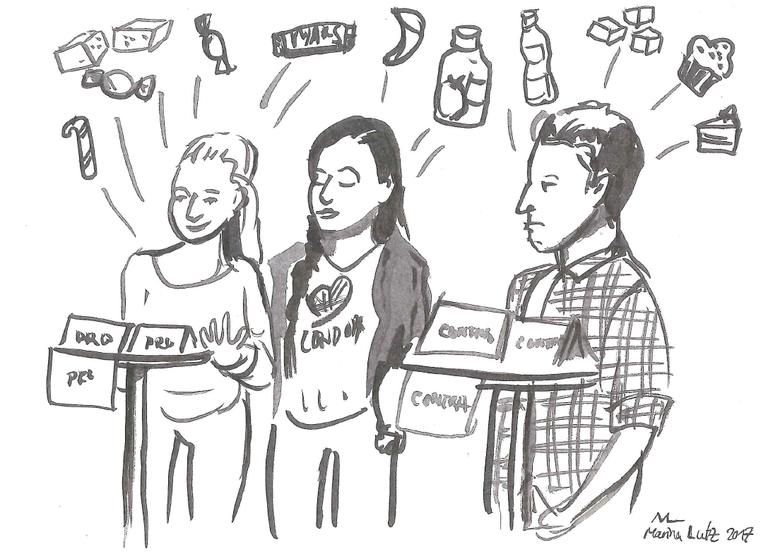 Karikatur der Künstlerin Marina Lutz