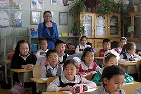 Schulklasse in der Mongolei