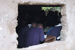 Students studying in the school.