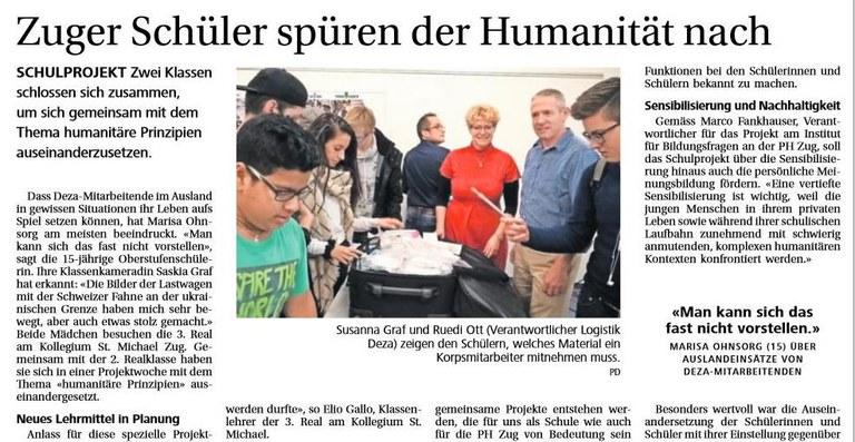 Zeitungsartikel Schulprojekt