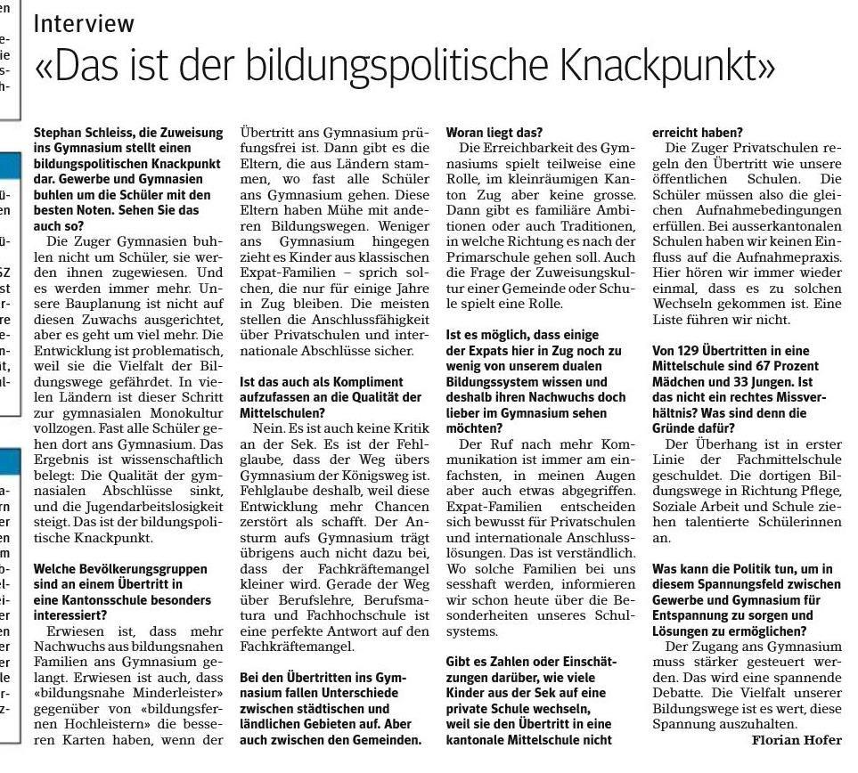 Zuger Presse 19. Juni 2019
