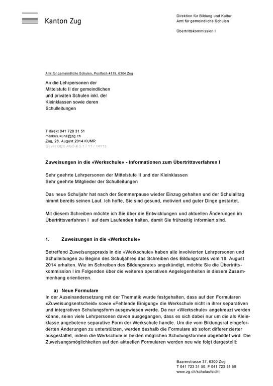 Werkschule Brief Seite 1