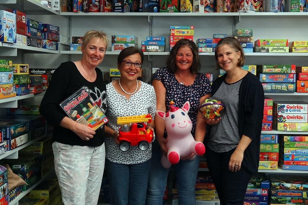 Ludothek-Team (v.l.n.r.) Marie-Theres Trütsch, Isabelle Stirnimann, Nicole Nussbaumer und Annemarie Frieden