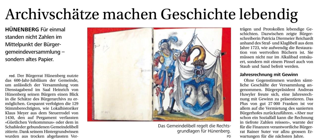 Artikel aus der Neuen Zuger Zeitung vom 28. Juni 2014