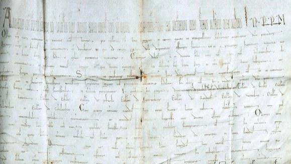 Ausschnitt aus dem Schutzbrief (Papstdiplom) von 28. März 1159