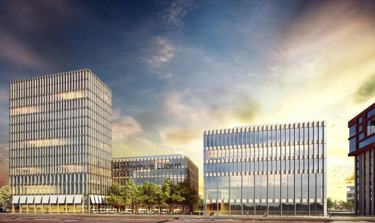"""Siegerprojekt """"Peripteros"""" mit dem Campus der Hochschule Luzern (HSLU)"""