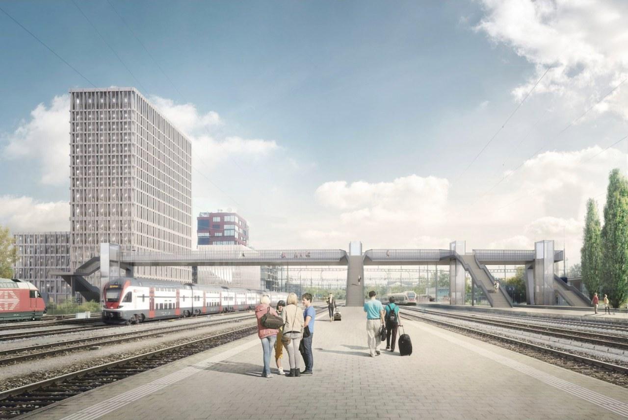 Personenüberführung vom Bahnhof Rotkreuz her gesehen
