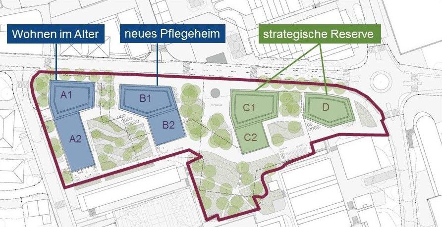 Bebauungsplan Buonaserstrasse (rot umrandet) mit den vorgesehenen Nutzungen der Baufelder.