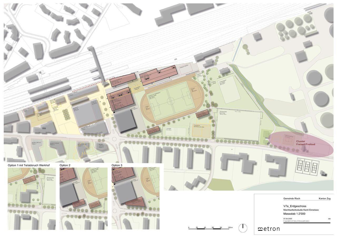 Abbildung 4: Variantenstudium der Anordnung der Ersatzbauten des Sportparkgebäudes (Variante 7a) unter der Annahme, dass die neue Kantonsschule in Rotkreuz realisiert wird.