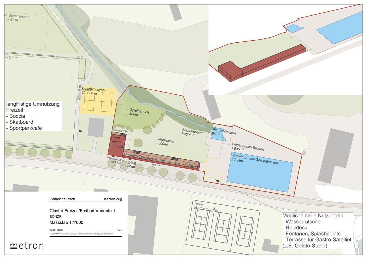 Abbildung 5: Variante für eine Erneuerung der Gebäudeinfrastruktur für Freizeit- und Freibadnutzungen (Variante 1)