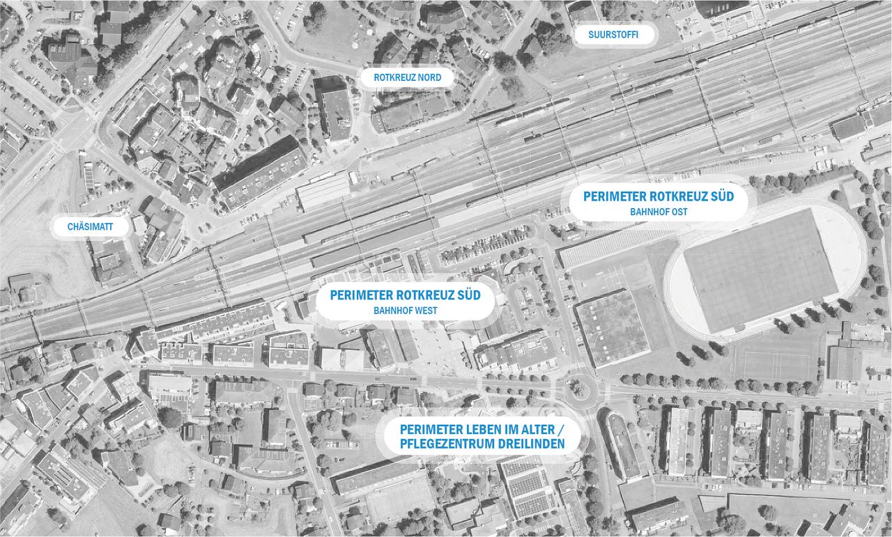 Übersicht der Planungsperimeter südlich des Bahnhofs