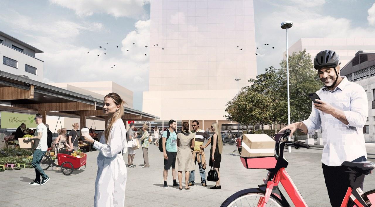 SBB und Gemeinde wollen den Dorfmattplatz mit der Bahnhofsentwicklung aufwerten und ihn als Ort der Begegnung stärken