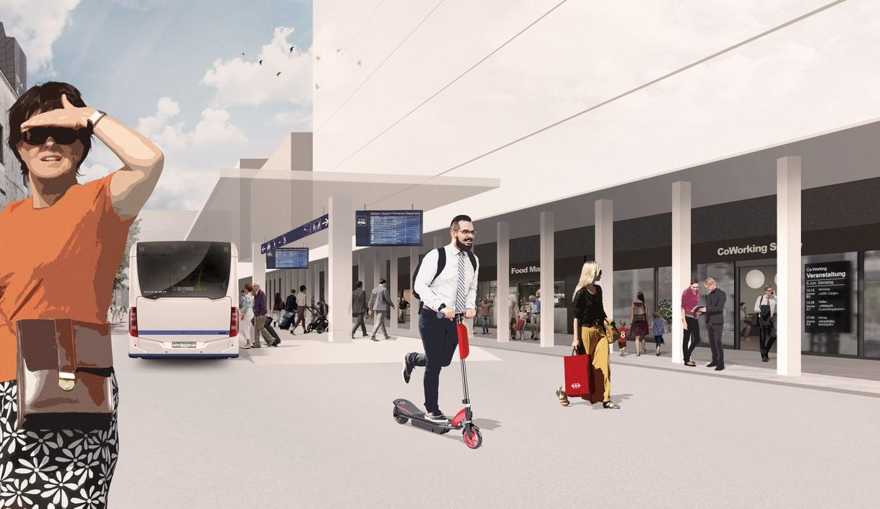 Der neue, behindertengerechte Busbahnhof zwischen Zentrum Dorfmatt und neuer Bahnhofsbebauung