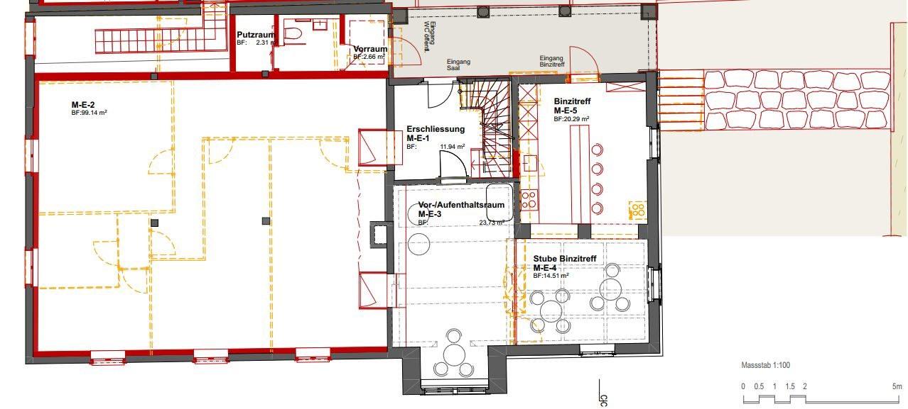 Erdgeschoss: Rot = neu         Orange = Rückbau