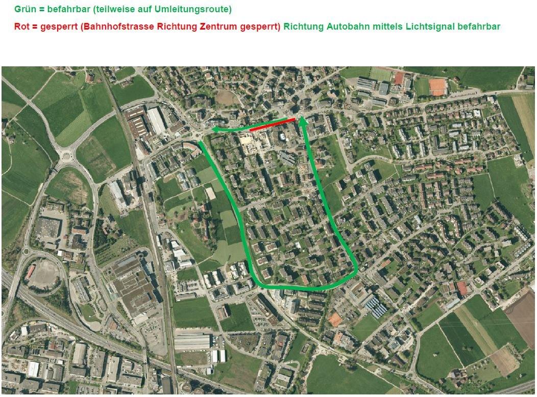 Plan zur Umleitung Zentrum Steinhausen