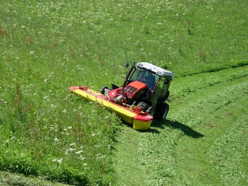 Gras mit Mähwerk mähen